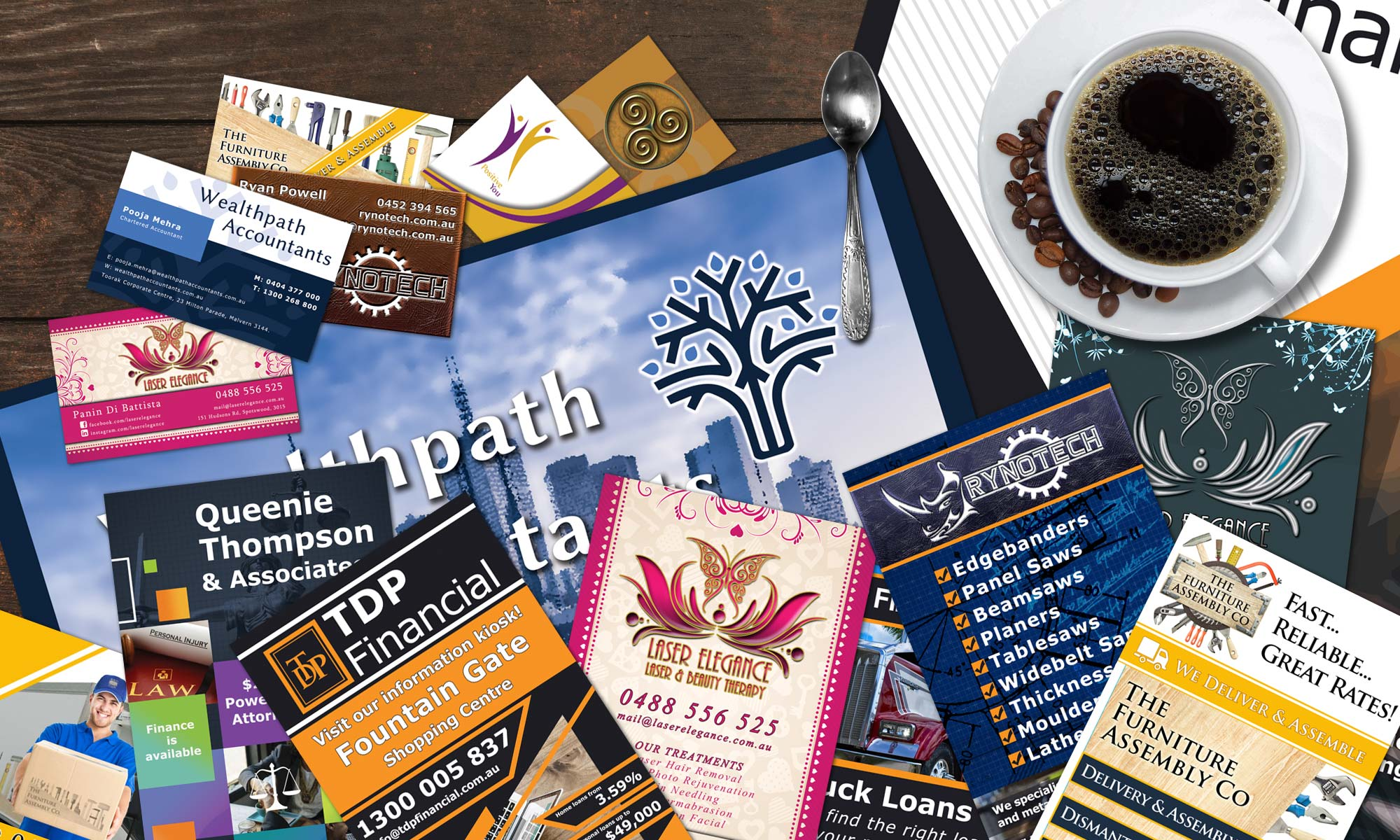 Flyers, business cards and print graphics from PreBuiltWebSite
